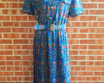 Vintage 80s Leslie Fay blue, green, and red floral pattern dress. Size 12