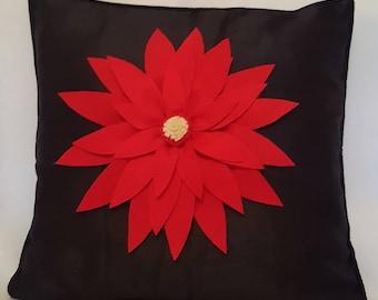 Designer, 3D Luxury Handmade Red Petal Silver Faux Silk Decorative Cushion Cover