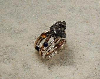 silver and bronze ring with meteorite piece. meteorite ring.