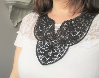 The Peter Pan collar pattern Black Lace flowers-retro quirky and vintage.