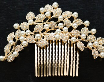 Gold Wedding Hair Comb, Floral Bridal Hair Comb, Wedding Headpiece, Gold Floral Bridal Side Comb, Wedding Side Comb