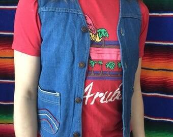 70s Rainbow Embroidered Denim Vest Men's Size XS / Ladies Size Small