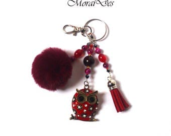 Keychain Owl - Keychain Bird - Keychain Animal - Purple Pom Pom - Tassel - Red Keychain - Gift For Girls / Women