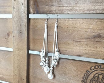three strand sterling silver ball earring, 925, sterling silver earrings