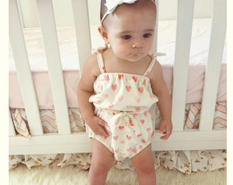 Adorable Baby Girl Heart Romper Handmade