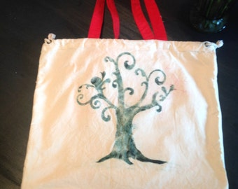 Durable Canvas Reusable Market Bag--embellished design by Cara
