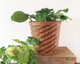 Vintage cane basket planter - Bohemian Boho Eclectic Jungalow Decor Style Home - planter - indoor plants - woven wicker #0721