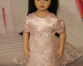 "Sweetheart-Soft Pink Satin Dress with Snaps. Handmade Clothes will fit dolls the size of the 20"" tall Maru & Friends Dolls.  Valentine Dress"