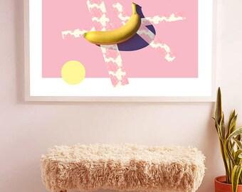 Banana Rounds Abstract Geometric Downloadable Printable Wall Art | 4x6, 8x10, 11x14