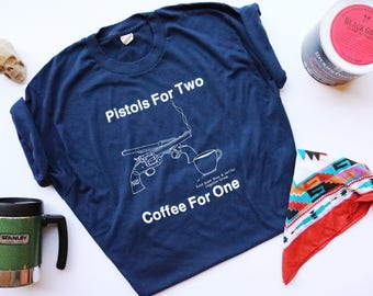 80s-90s Pistols Coffee Navy Blue Slogan Tee | Size XL