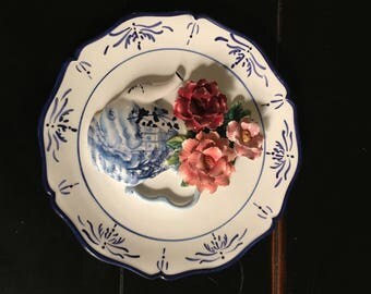 Decorative 3D plate teapot and flowers