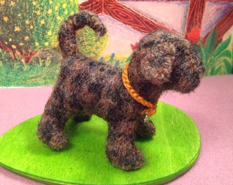 Brown Checkered Felted Wool Puppy Pal