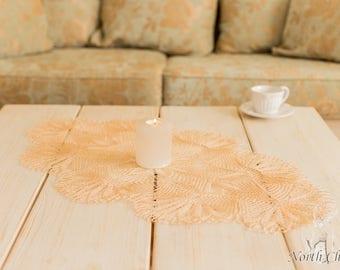 "Beige Lace Table Topper ""Annika"""