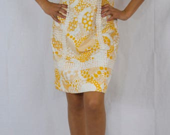 70's yellow and white shift dress