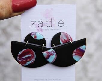 Black blue pink swirl earrings, drop earrings, marble dangle earrings, the zadie store, unique earrings, handmade earrings, stud earrings