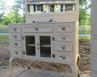 Antique Vintage Medical / DentalApothecary Industrial Metal Chest or Cabinet with Mirror and Marble Top (by The Max Wocher & Son Co.)