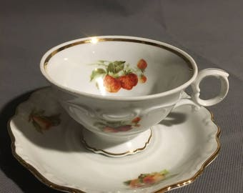 Vintage Bavaria Schuman Arzberg Germany Tea Cup and Saucer Strawberry (main) Pear and Apple w/ Gold