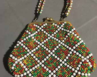 """Vintage Beaded Purse in Red Yellow Green and White clasp open 7 1/2"""" x 9"""" x 1"""""""