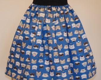 Cat print skirt, midi skirt