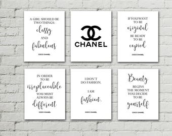 Chanel home decor,Chanel quotes,Chanel prints,Chanel logo,Coco Chanel set of 6 prints,Chanel posters,fashion art, Chanel quote wall art