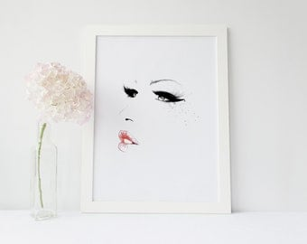 Makeup print, makeup wall art, fashion print, beauty print,lipstick print,makeup decor,fashion illustration,makeup prints,eyelashes wall art