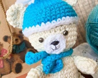 Cute amigurumi Teddy bear, Sweet crochet white bear in a hat