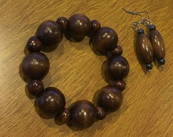 2 piece set-Beautiful African Chunky Ebony Wooden Bracelet & Earrings