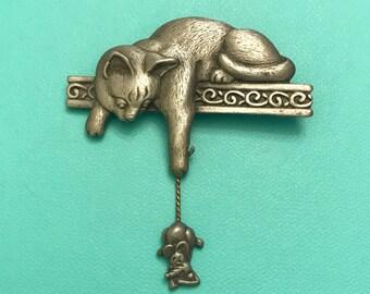 Vintage JJ Jonette Silver Tone Cat and Mouse Brooch