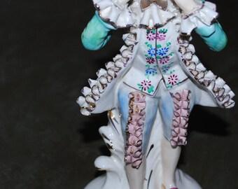 Vintage Wales Japan porcelain figurine,Dresden lase style,victoreian porcelain.