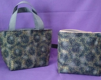 Handbag and Zippered Pouch Set (Black w/Gold & Silver Dust)