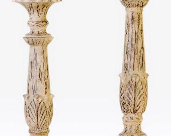 Cream rustic candle sticks