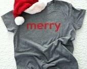 Merry Christmas Red Glitter Women's Statement T-shirt *Free Shipping*