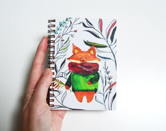 Blank journal Gift for artist Pad for writing Art stationary Watercolor fox book Color notebook Girl diary Red notepad Spiral sketchbook