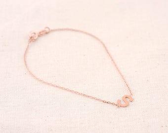 Initial Bracelet | Monogram Bracelet | Silver Bracelet | Gift for Her | Personalized Jewelry | Dainty Bracelet | Rose Gold Bracelet | Charm
