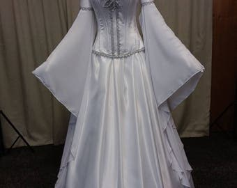 Elven Wedding dress, medieval dress, handfasting, white and silver gown, prom, fantasy wedding dress, fae dress, faerie gown
