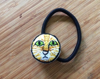 Orange Tabby Embroidered Ponytail Holder