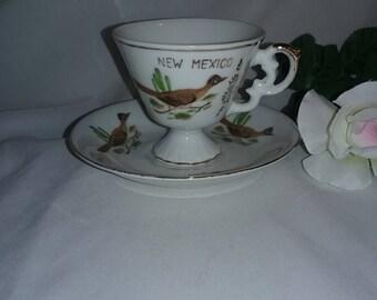 New Mexico Souvenir Tea Cup Roadrunner Vintage