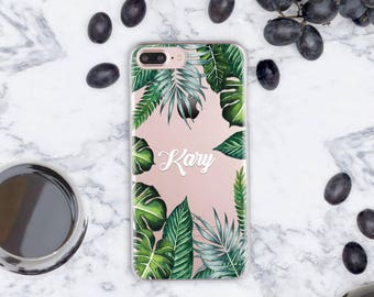 Summer 7 iPhone Case Clear iPhone 7 Plus Case iPhone SE Case Palm Leaves iPhone Case Clear iPhone 6 Case iPhone 5 Case Tropic Case cn011