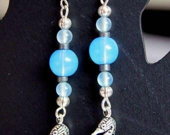 Seahorse and Pearl Earrings blue Opal gems