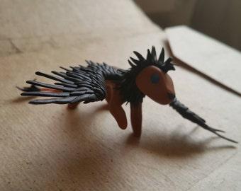 Cute Winged Little Lion Friend polymer clay sculpture Big Cat Miniature Fantastic Animal