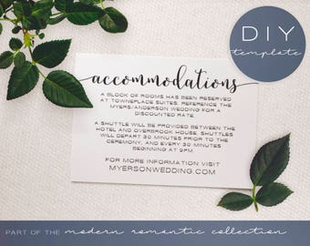 Wedding Invitation Insert - Modern Romantic Collection - Wedding Accommodation Card - DIY Printable Black and White