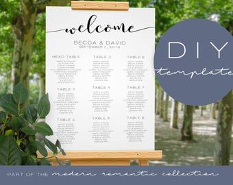 Wedding Seating Chart Template - Modern Romantic Collection - Wedding Seating Chart - DIY Printable Black and White