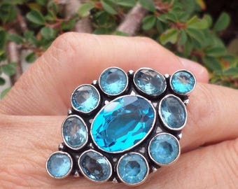 RING 925 sterling silver and Blue Topaz