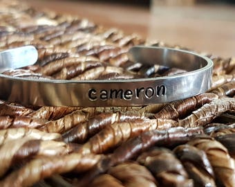 personalized slim aluminum cuff bracelet