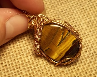 Very Unique AAA Grade Landscape Tigers Eye Pendant 32.22 ct natural gemstone Bronze wire wrap