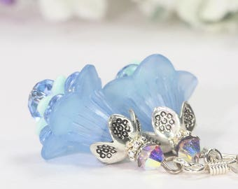 Light Blue Earrings, Trumpet Lily Dangles, Lucite Earrings, Lucite Flower Earrings, Petunia Earrings, Bridesmaids Gift, Blue Floral Earrings