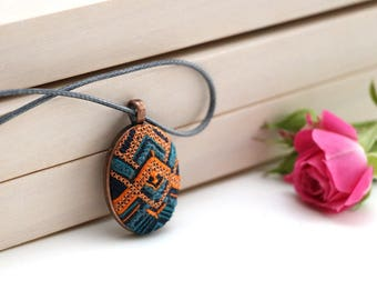 Embroidered jewelry gift for women, Mother's Day Gift, cross stitch jewelry, embroidery jewelry, cross stitch pendant, cross stitch necklace