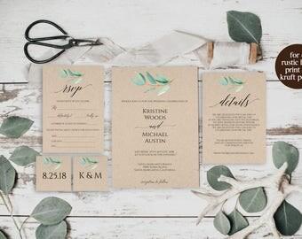 Greenery Wedding Invitation Template, Wedding Invitation Template, Rustic Wedding Invitation Cheap, Greenery Wedding, Printable, BD6067