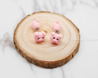 Cute Earrings, Miniature Pig Clay earrings, Handmade polymer clay earrings, Clay animal stud jewelry, Accessories, Gift idea Animal Lovers