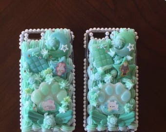 PREMADE Mint Twin decoden cases with rhinestones for the iPhone 6 Plus